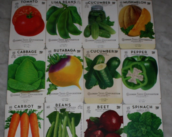 Lot of 16 Vintage Unused Lithographed Vegetable Seed Packs; Crosman Seed Co., East Rochester, NY Warehouse Find! Old Authentic Packets!
