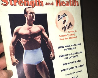 July, 1936 Strength and Fitness Magazine; Vintage Body Building, Muscle, Strong Man, Fitness