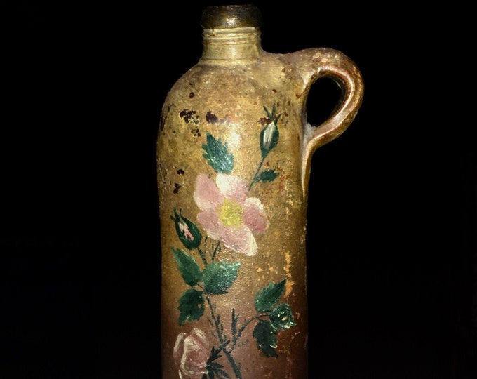 Antique Primitive Redware Pottery Bottle with Folk Art Paint Decorations