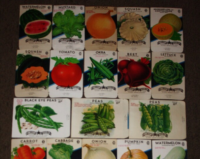 Lot of 27 Diff. Vintage Unused Colorful 1940s Seed Packs; Lone Star Seed Co., San Antonio, Texas, Warehouse Find! NOS Old Authentic Packets!