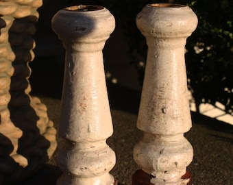 Pair of Antique Distressed Baluster Candlesticks in Old Chippy White Paint; Repurposed Porch Spindles; Shabby Chic Candle Holders