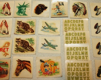 Vintage 1940s Kellogg's Pep Transfers, Decals, Cereal Box Premiums! Lot of 22! Indian, Race Car, Animals, Jet, Lady Liberty