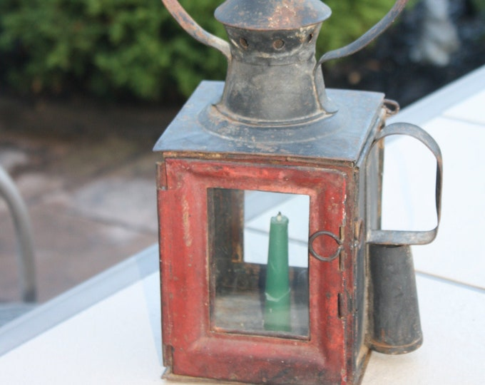 Antique Railroad Lantern; Soviet Sergievsky Railway Candle Lamp