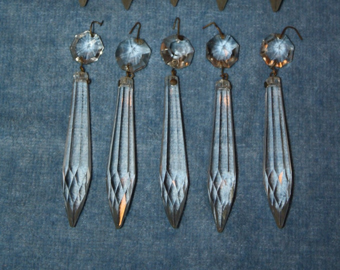 Lot of 10 Antique Crystal Icicle Prisms; Beautiful Old Cut Glass