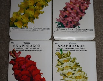 Group of 4 Vintage Snapdragon Seed Packets: Crosman Seed Co. East Rochester, NY; Never used old stock!