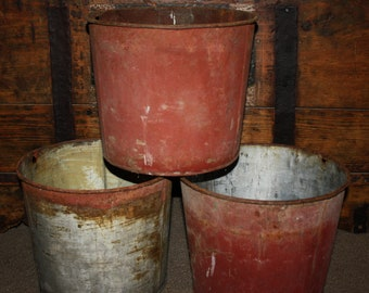 Antique Country Primitive Metal Sap Buckets; Rustic, Shabby, Old Paint, Rust, Weathered Patina