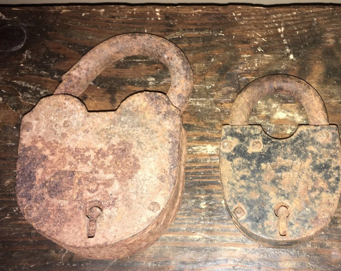Lot of 3 Large Antique Padlocks; Old, As-Found Locks