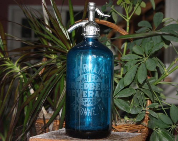 Antique Blue Glass Seltzer Bottle: Friedberg Beverages Bayonne, NJ
