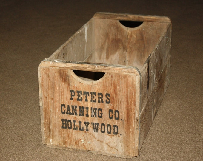 Extra Long Vintage Wooden Produce Crate; Fruit Vegetable Farm Box from Peters Canning Company, Hollywood