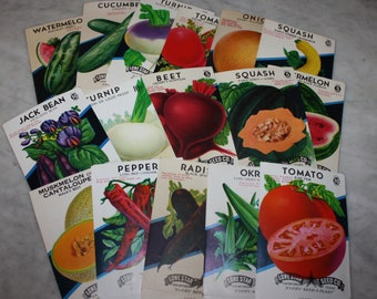 16 Diff. Vintage Unused Old Stock Vegetable Seed Packs; Lone Star Seed Co., San Antonio, Texas, Warehouse Find! NOS Early Authentic Packets!