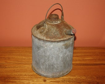 Antique Galvanized Metal Fuel Gas Kerosene Can; Vintage Rustic Decor