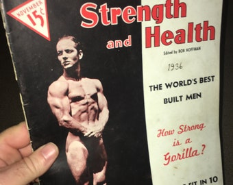 Nov. 1936 Strength and Fitness Magazine; Vintage Body Building, Muscle, Strong Man, Fitness