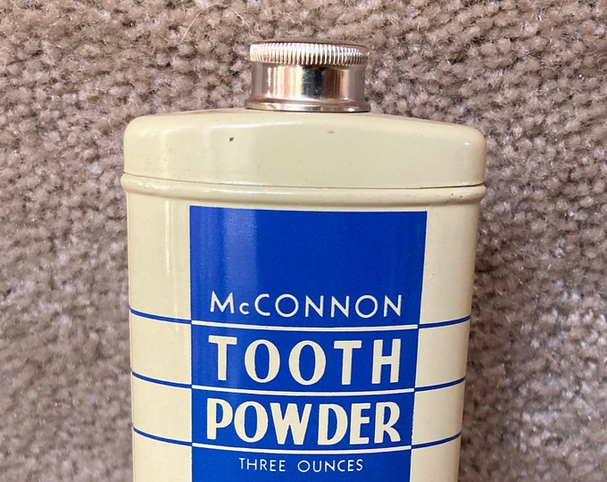 Vintage 1940s McConnon Tooth Powder 3 oz. Tin; Old Stock, NOS, Never Used, Litho Container