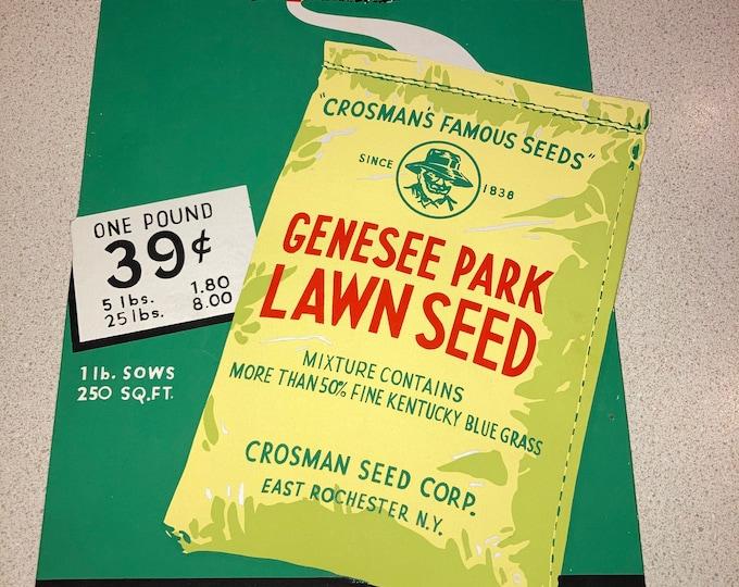 Vintage 1940 Crosman Seed Co. Countertop Sign: Genesee Park Lawn Seed, NOS Unused Advertising