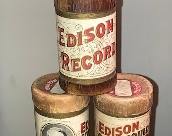 Original Early 1900s Edison Cylinder Record Cases; Advertising Boxes; Historical Antique Music Decor!