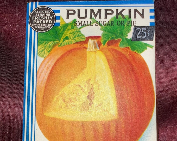 """Vintage 1934 """"Better Homes"""" Pumpkin Seed Packet from Crosman Seed Co., East Rochester, NY!"""
