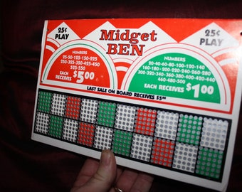 Vintage 1940s MIDGET BEN 25 Cent Punch Board; NOS Warehouse Find; Never Used Old Stock Gambling Punchboard