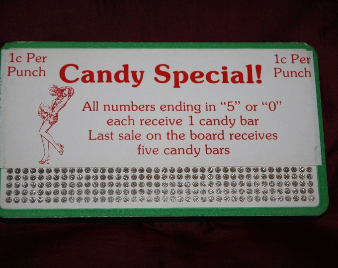 Vintage 1930s CANDY SPECIAL  5 Cent Punch Board; NOS Warehouse Find; Never Used Old Stock Gambling Punchboard