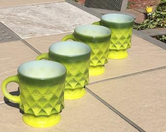 Vintage Set Of 4 Fire King Green Ombre Kimberly Diamond Mugs