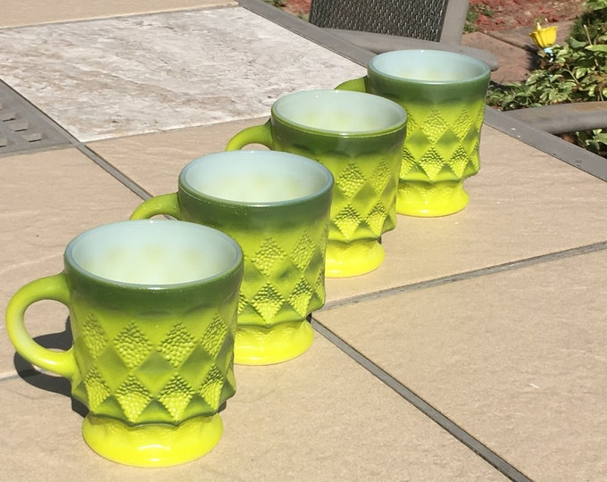Vintage Set Of 4 Fire King Green Ombre Kimberly Diamond Mugs