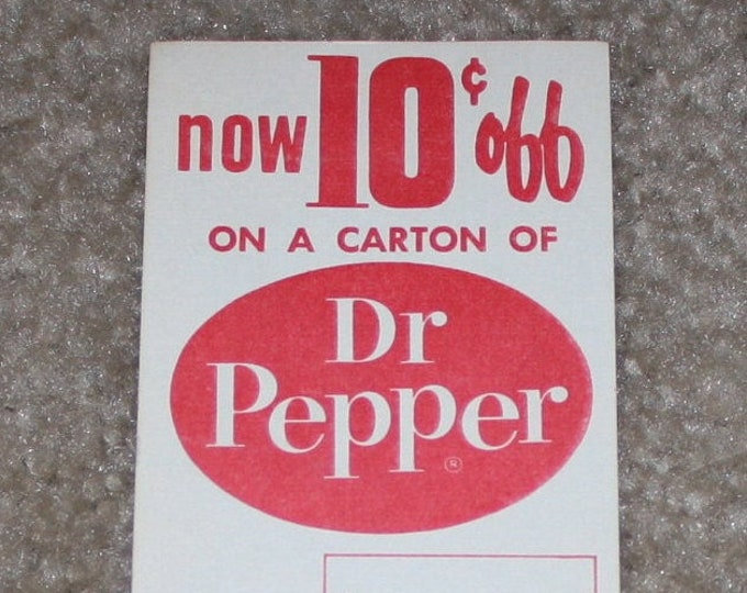 Vintage 1963 Dr. Pepper 6-Pack Carton Insert Advertising Promotion, NOS, Old Stock