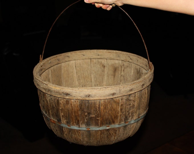 Antique Primitive Wooden Apple Gathering Basket with Swing Handle; 19th Century New England Half Bushel Picking Basket