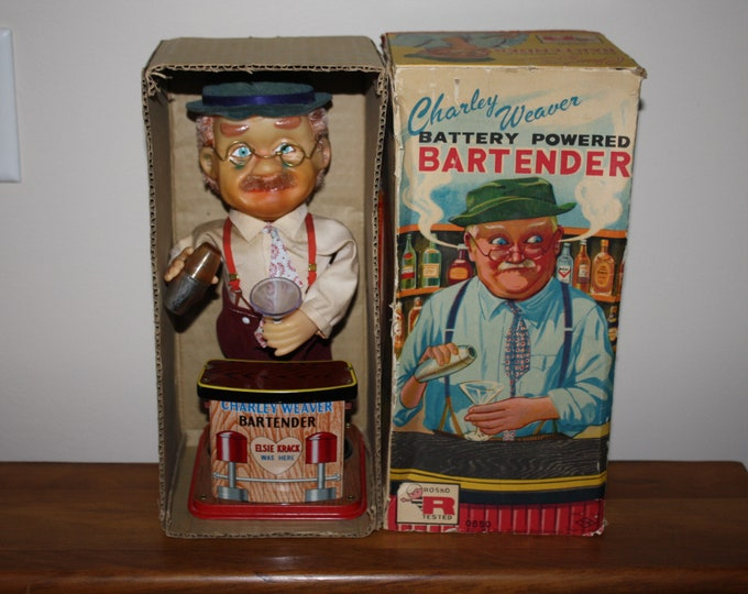 Vintage 1962 Battery Operated Charley Weaver Bartender Toy, Rosko, New Old Stock, in Original Box