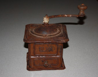 Antique Rusty Primitive Tin Coffee Grinder; Vintage Metal ELMA Coffee Mill, Country, Rustic, Kitchen Decor, As Found