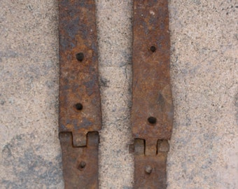 Pair of Late 18th, Early 19th Century Iron Strap Hinges; Blacksmith Forged, Hand Wrought