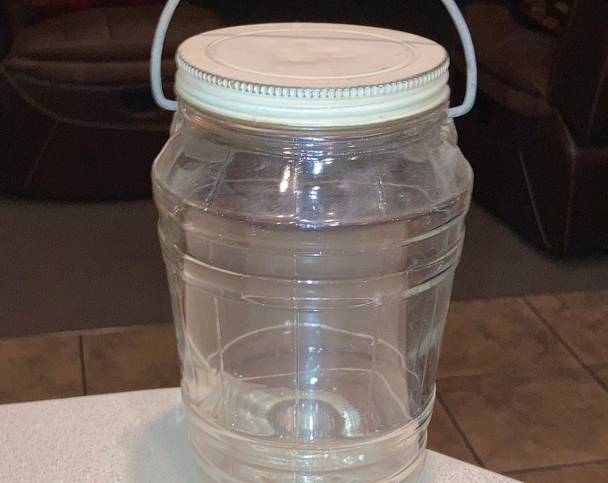 Vintage 1 Quart Glass Pickle Jar with Swinging Bail Handle and Original Cover