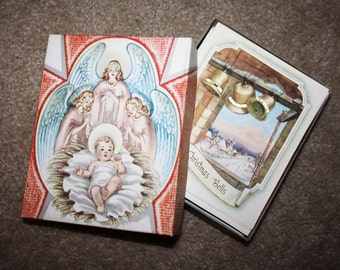 Vintage Unused Box of 1950's Christmas Cards! New Old Unsold Store Stock! Warehouse Find! 21 Holiday Cards with Envelopes, unsigned!