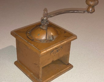 Antique Country Primitive Wooden Coffee Grinder in Old Paint, Coffee Mill, Rustic As-Found Kitchen Decor