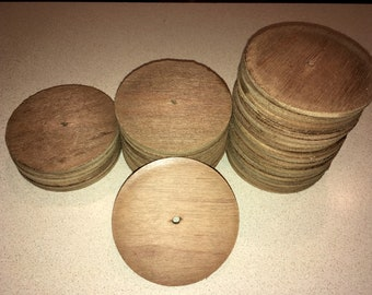 Lot of 37 Round Wooden Disks; Cut Circular Plywood Pieces; Repurpose, Crafts, Create, Raw Material