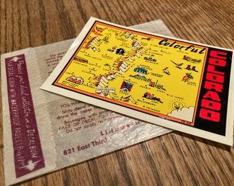 Vintage 1950s, 60s Lindgren Turner Co. Water Slide Decal; Colorful Colorado Souvenir Sticker