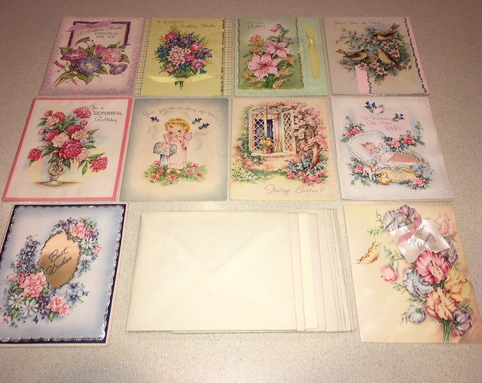 10 Vintage 1950s Greeting Cards; Unused, Multiple Occasion
