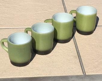 Set of 4 Anchor Hocking Fire King Green & Black Coffee Mugs