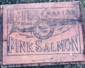 Early 1900s Antique Wooden Advertising Shipping Crate: Lily Brand Salmon