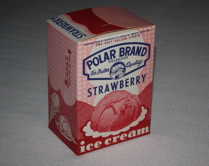 Vintage 1950s Polar Brand Strawberry Ice Cream Box; New Old Stock, Holbrook Ice Cream Co, Detroit Michigan; Never Used, Warehouse Find!