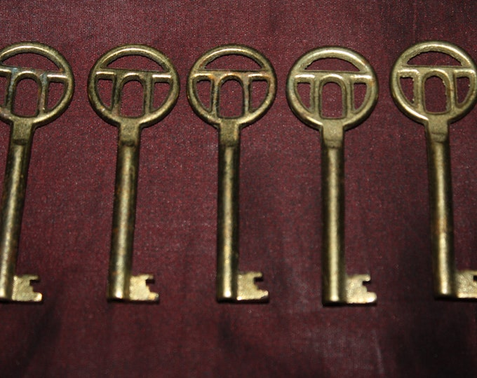 Lot of 5 Old Iron Skeleton Keys; New Old Hardware Store Stock; NOS; Unused