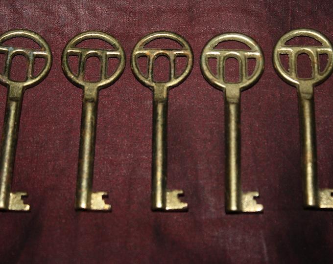 Lot of 5 Old Iron Skeleton Keys; New Old Hardware Store Stock; NOS; Unused