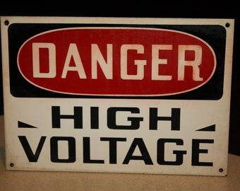 """Vintage DANGER HIGH VOLTAGE Sign; Masonite 10 1/8"""" by 7 1/8"""""""