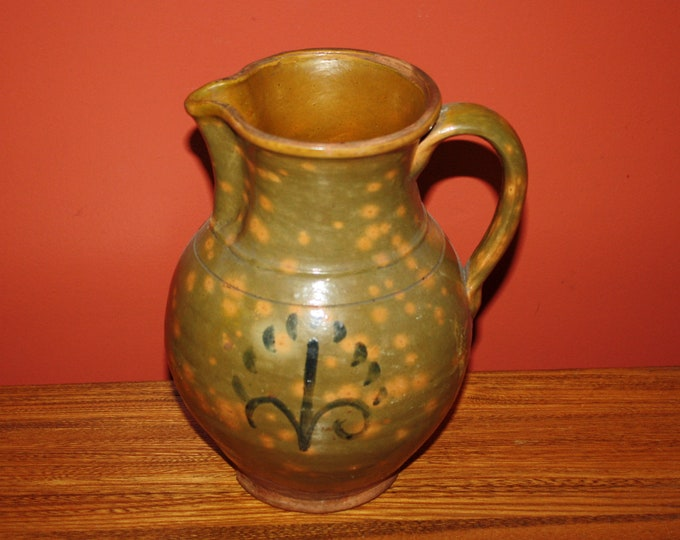 Antique Country Redware Folk Pottery Pitcher; 19th Century Decorated & Mottled Red Clay Vessel