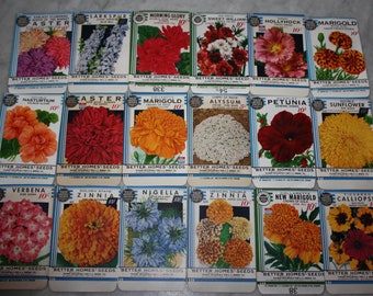 """New Find! Collection of 18 Vintage 1934 """"Better Homes"""" Flower Seed Packets Crosman Seed Co. East Rochester, NY Old Stock, Warehouse Find!"""