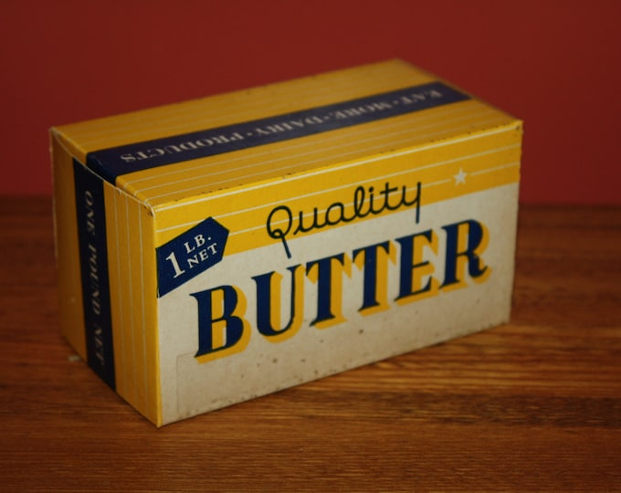 Vintage 1940 Waxed Butter Box, Original Never Used Packaging, NOS
