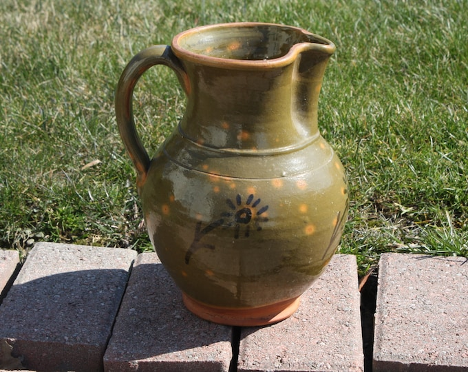 Antique Country Primitive Redware Pottery Pitcher; Slip Decorated, Lead Glazed, 19th Century, Mottled, Old Green Jug