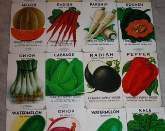 Group of 16 Vintage Unused Fruit & Vegetable Seed Packs; Farmer's Supply House, New Bern, NC;  Old Stock!  Never Used!