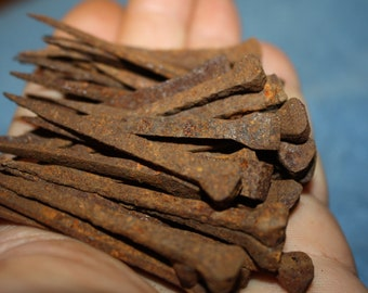 "Lot of 40 19th Century Handmade Iron Square Nails; Early Rectangular Head Nails, 2 1/2"" Longd"