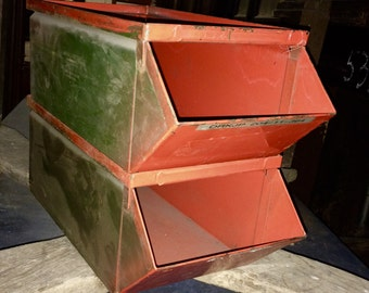 Vintage Industrial Stacking Metal Storage Bins; 1950s Stackbin