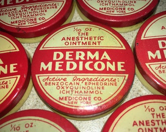 VINTAGE MEDICINE TIN: Derma Medicone - 1/10 oz Size - Anesthetic Ointment - Miniature Container, Nice Graphics