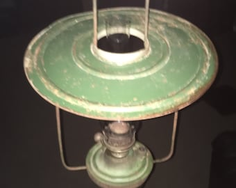 Antique Hanging Metal Oil Kerosene Shop Lamp in Old Green Paint
